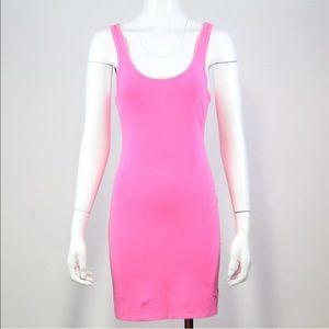 PINK Tank Dress Sz S Neon Pink Cotton Stretch Mini